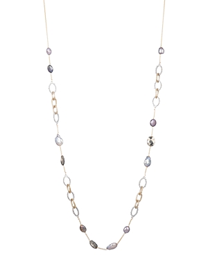 Alexis Bittar Modern Georgian Crystal Encrusted Stone Station Link Necklace, 32
