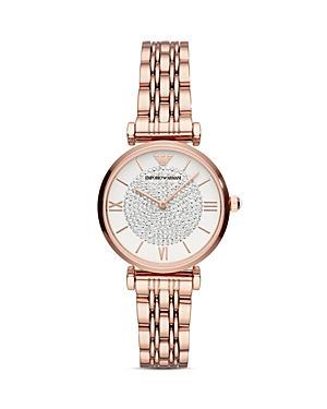 Armani Two-Hand Rose Gold-Tone Link Bracelet Watch, 32mm