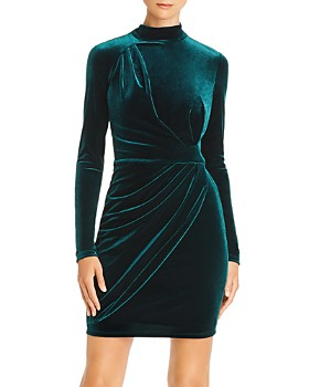 Black Halo - Briar Velvet Faux-Wrap Mini Dress