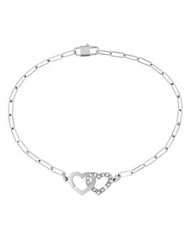 Dinh Van - 18K White Gold Double Coeurs Chain Bracelet with Diamonds