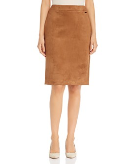 T Tahari - Faux-Suede Pencil Skirt