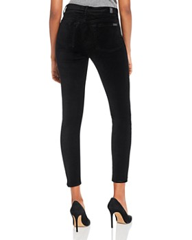 7 For All Mankind - High-Waisted Ankle Skinny Jeans in Black Velvet