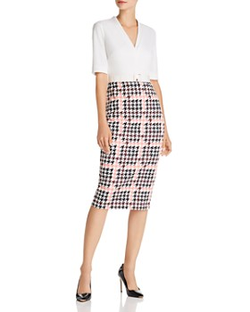 Ted Baker - Harlla Houndstooth Combo Bodycon Dress - 100% Exclusive