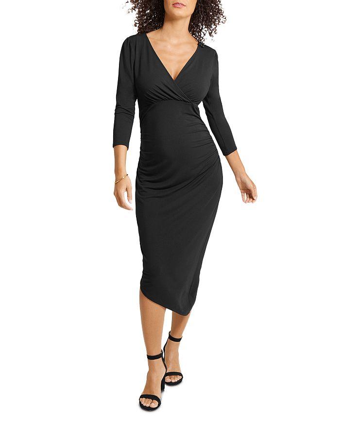 Ingrid & Isabel - Asymmetric-Hem Midi Maternity Dress