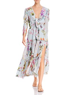 Hemant and Nandita - Tropical Floral Tie-Front Maxi Dress