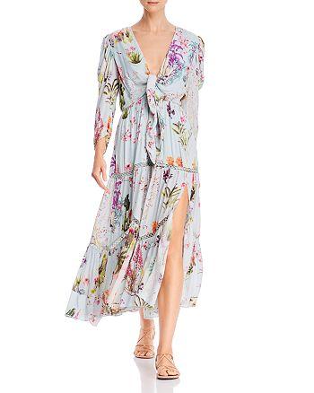 Hemant and Nandita - Tropical Floral Tie-Front Maxi Dress