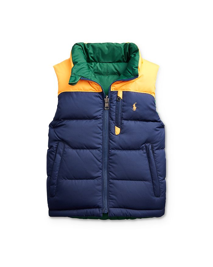 Ralph Lauren - Boys' Reversible Color-Block Down Vest, Little Kid - 100% Exclusive