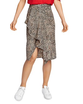 1.STATE - Ruffle Front Leopard Print Skirt