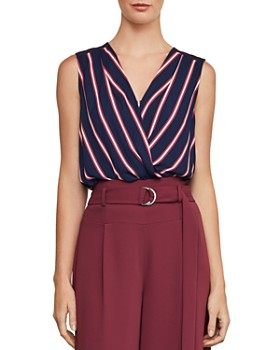 BCBGMAXAZRIA - Striped Faux-Wrap Top