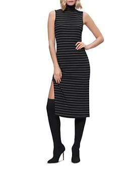 PAIGE - Danisha Striped Midi Turtleneck Dress