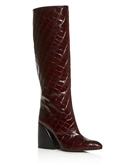 Chloé - Women's Wave Croc-Embossed Block-Heel Boots