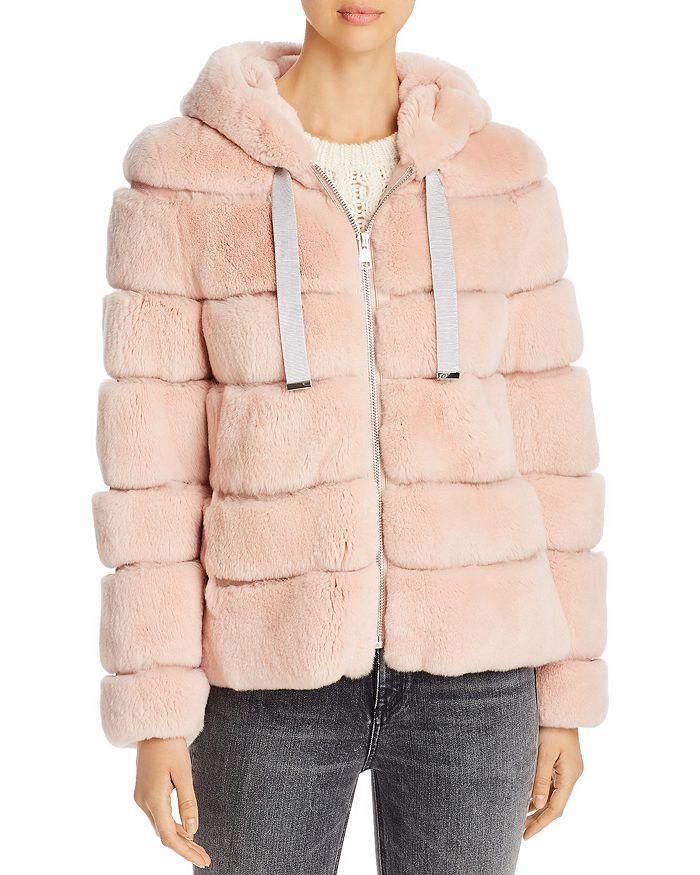 Maximilian Furs - Hooded Rabbit Fur Zip Coat - 100% Exclusive