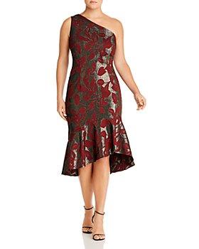 Adrianna Papell Plus - Metallic Jacquard One-Shoulder Dress