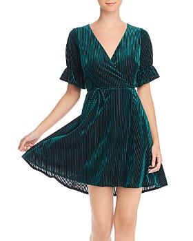 AQUA - Velvet Burnout Wrap Dress - 100% Exclusive
