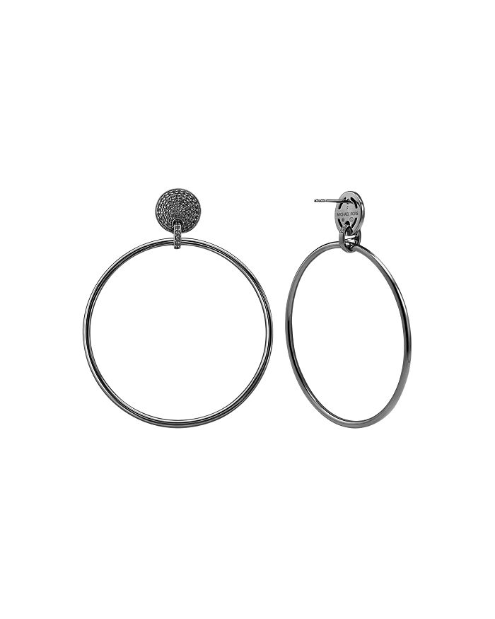 Michael Kors - Frontal Large Hoop Earrings in 14K Gold-Plated Sterling Silver or Black Ruthenium-Plated Sterling Silver