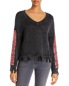 Vintage Havana - Camo-Sleeve Distressed Sweater