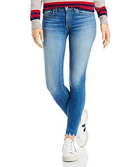 rag & bone - Shredded-Hem Ankle Skinny Jeans in Flint