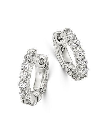 Bloomingdale's - Diamond Huggie Hoop Earrings in 14K White Gold, 0.50 ct. t.w. - 100% Exclusive
