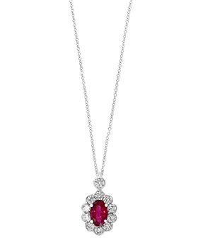 """Bloomingdale's - Ruby & Diamond Pendant Necklace in 14K White Gold, 18"""" - 100% Exclusive"""