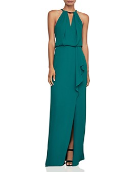 BCBGMAXAZRIA - High-Neck Sleeveless Pleated Gown