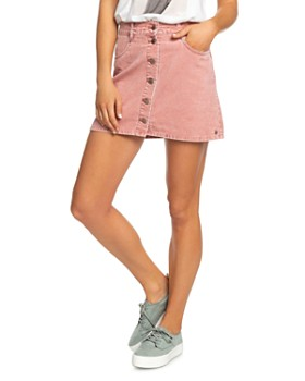 Roxy - Button-Front Corduroy Skirt