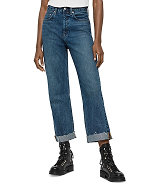 Allsaints Mari High-Rise Ankle Boyfriend Jeans in Dark Indigo