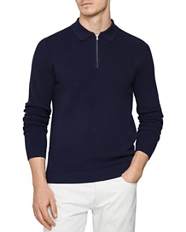 REISS - Ronaldson Textured Regular Fit Half-Zip Polo Shirt