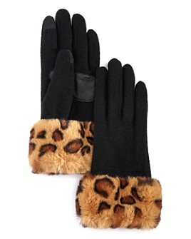 Echo - Leopard-Print Faux Fur-Cuff Tech Gloves