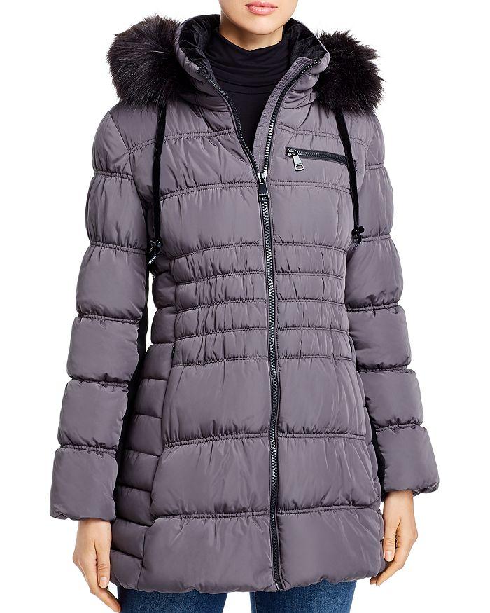 Calvin Klein - Faux Fur-Trim Zip-Front Puffer Coat