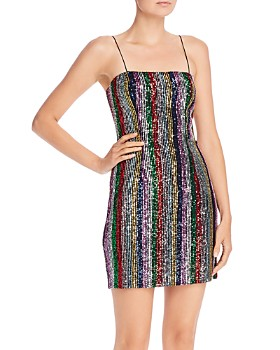MILLY - Kaia Rainbow Stripe Sequin Mini Dress