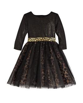 US Angels - Girls' Leopard Print Metallic Dress - Little Kid