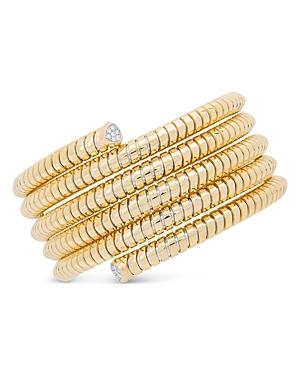 18K Yellow Gold Trisolina Five-Row Flex Cuff with Diamonds