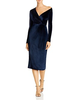 Cushnie - Gathered One-Shoulder Velvet Midi Dress