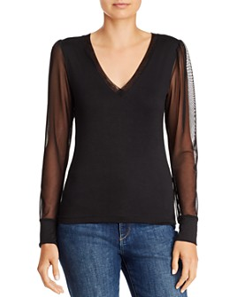 LNA - Nina Mesh-Sleeve Top