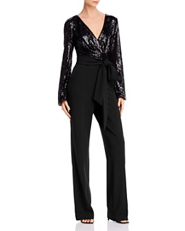 Ralph Lauren - Belted Sequin Combo Jumpsuit