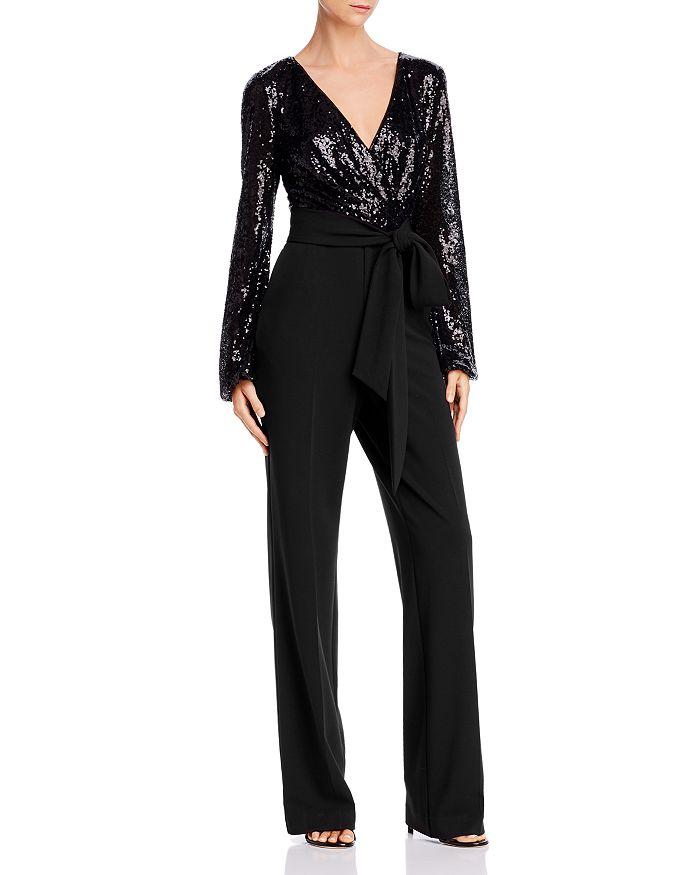 Ralph Lauren - Belted Sequin Combo Jumpsuit