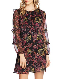 CeCe - Floral Symphony Ruffle-Sleeve Dress