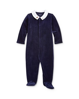 Ralph Lauren - Boys' Embroidered Velour Footie - Baby