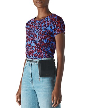 Whistles - Jungle Cat Printed Mesh Top