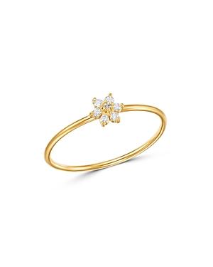 Zoe Chicco 14K Yellow Gold Prong Diamonds Tiny Diamond Flower Ring