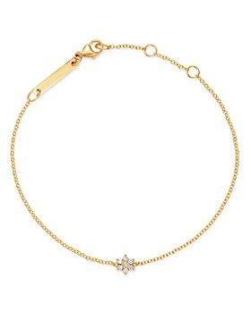 Zoë Chicco - 14K Yellow Gold Prong Diamonds Tiny Diamond Flower Adjustable Bracelet