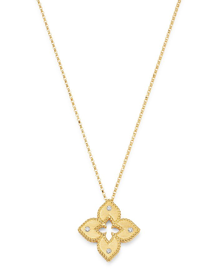 "Roberto Coin - 18K Yellow Gold Petite Venetian Princess Diamond Pendant Necklace, 17"""