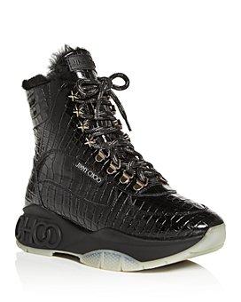 Jimmy Choo - Women's Inca Shearling Croc-Embossed Platform High-Top Sneakers