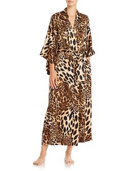 Natori - Long Leopard-Print Satin Robe