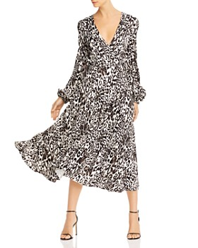 MILLY - Gina Leopard Print Jacquard Midi Dress