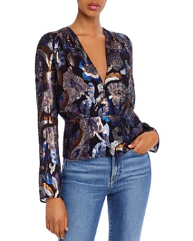 Ramy Brook - Rainn Metallic Floral Peplum Top