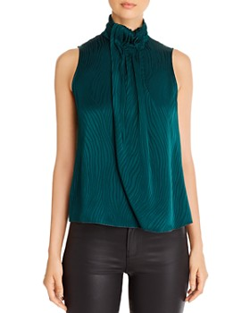 Armani - Pleated & Draped Animal-Print Top