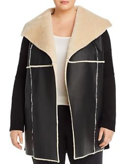 Single Thread Plus - Faux Shearling & Knit Open Jacket