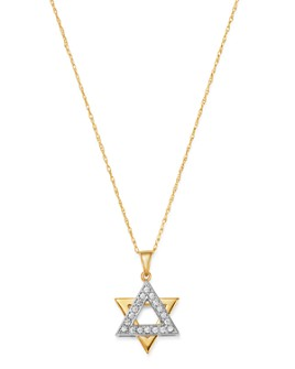 Bloomingdale's - Diamond Star of David Pendant Necklace in 14K White & Yellow Gold, 0.20 ct. t.w. - 100% Exclusive