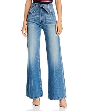 Mother Jeans THE ROLLER TIE PATCH WIDE-LEG JEANS IN POPISM